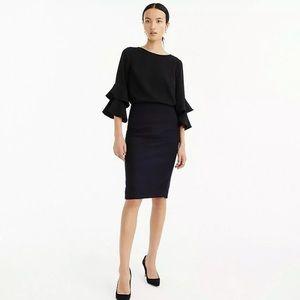 J.Crew No.2 Pencil Skirt Black Double Serge Wool